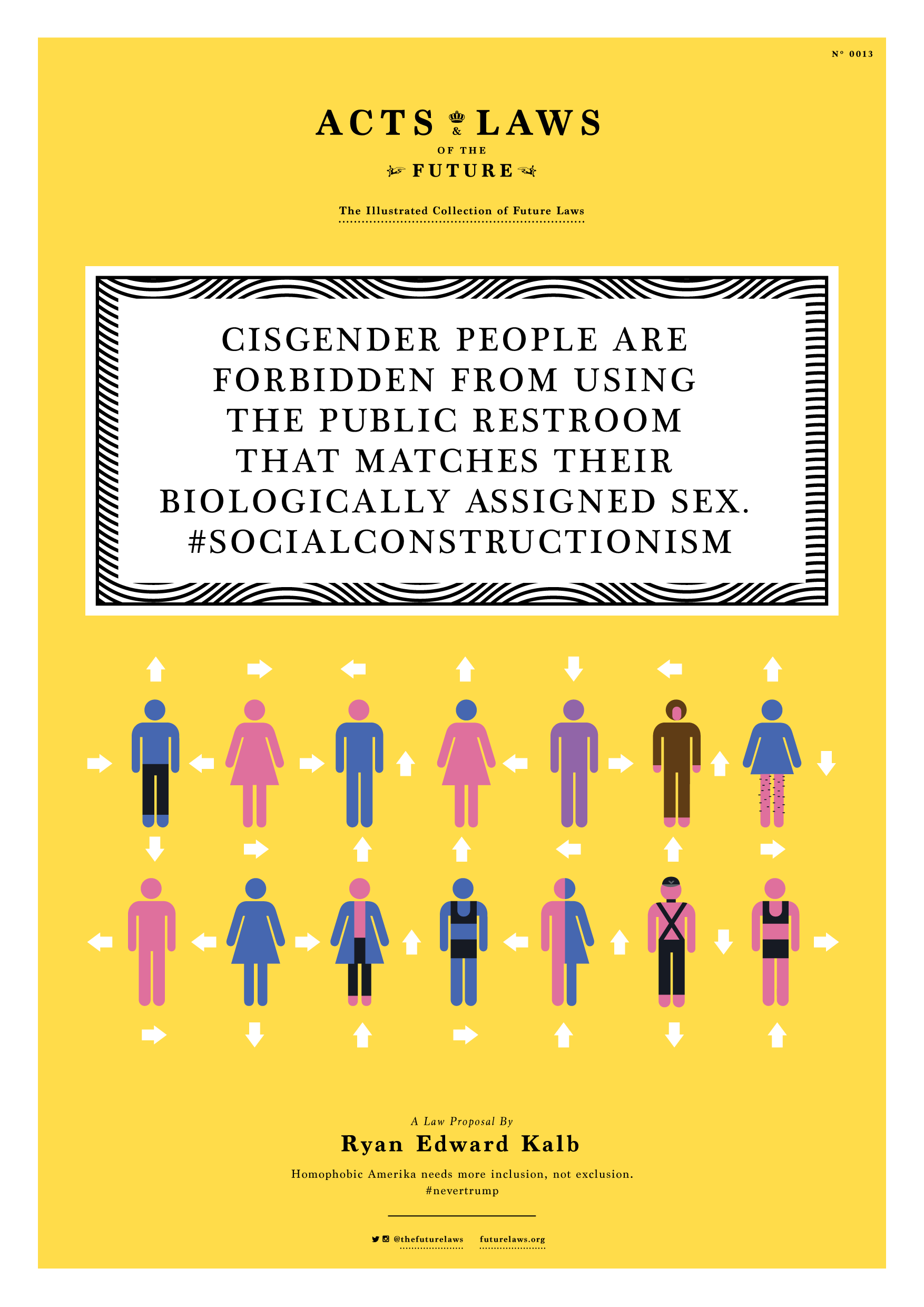 Cisgender people are forbidden from using the public restroom that matches their biologically assigned sex. #socialconstructionism